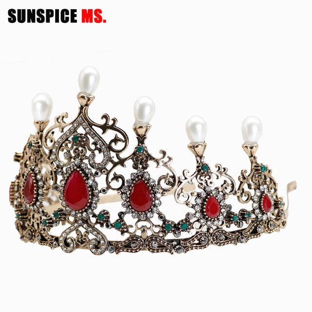 SUNSPICE-MS Vintage Luxury Antique Gold Crystal Pearl Tiara Crown Wedding Hair Accessories Bridal Party Jewelry Big Headbands
