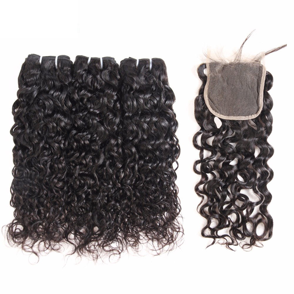 Superfect Malaysian Water Wave 3 Bundles With Closure 8 28 Inch Human Hair Bundles With Closure