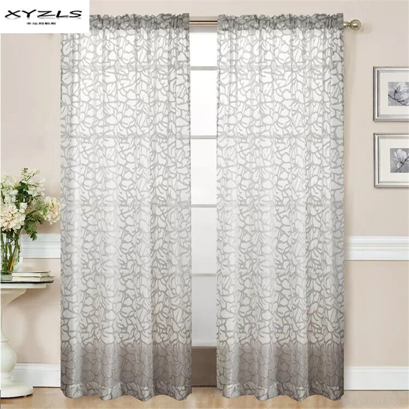 xyzls modern jacquard kitchen curtains floral grey sheer panel tulle curtains window treatment