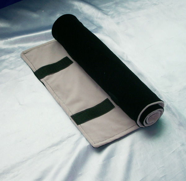 EMS FREE 10Pcs BlackGrey Velvet Pro Jewelry Roll up Case Mass