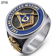 купить ZFVB NEW Masonic Signet Rings Male Women Gold color Freemason Ring Stainless Steel Hiphop Fashion Party Charm Men Jewelry Gift дешево