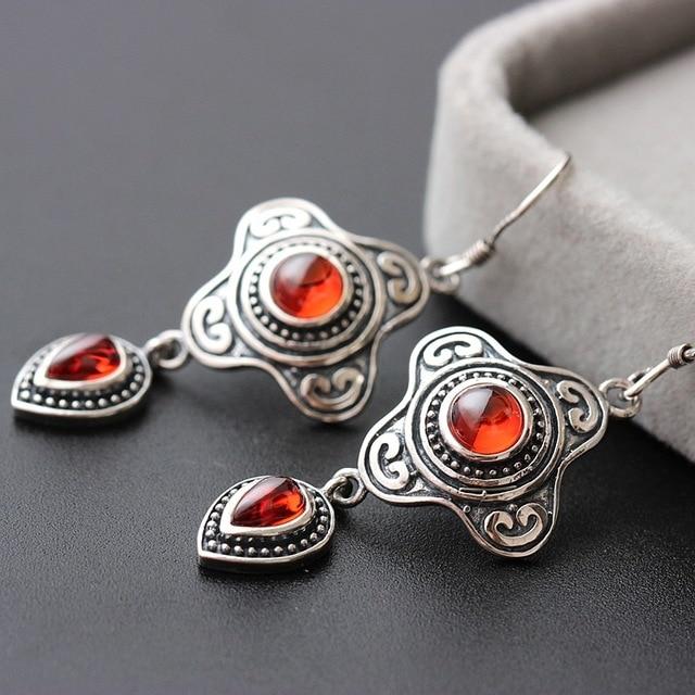Фортуна павильон серебро 925 чистое серебро серьги с серебро серьги чистое серебро ювелирные изделия непал циркон