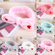 Hot Coral fleece Korean love pink bow Baby hair band cute female bath wash face scarf women headband