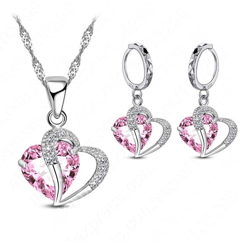 Luxury Women 925 Sterling Silver Cubic Zircon Necklace Pendant Earrings Sets Cartilage Piercing Jewelry Wedding Heart Design(China)