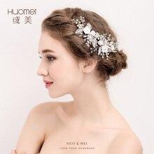 Handmade penteia o cabelo de Noiva tiara floral mulheres pérola jóias tiarawedding hairband acessórios para o cabelo