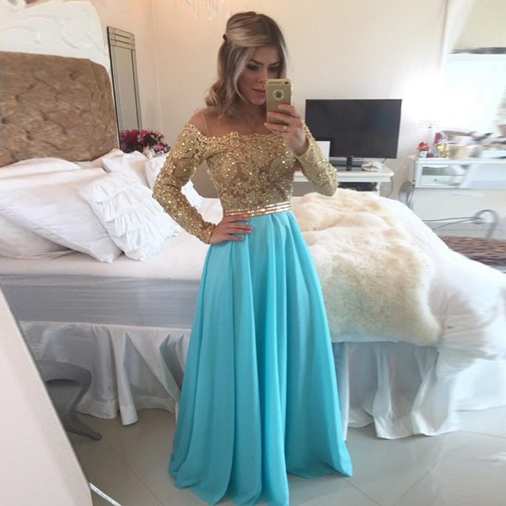 Gorgeous Long Sleeves Lace Top Blue Chiffon Vintage Prom Dress ...
