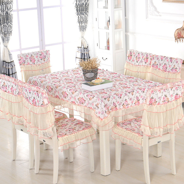 High Quality Thirteen Piece Set Lace Dining Table Dustproof Household Table  Cloth Protective Chair Cover