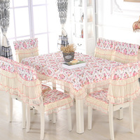 High quality Thirteen-piece set Lace Dining table Dustproof Household Table cloth Protective Chair cover Seat cushion