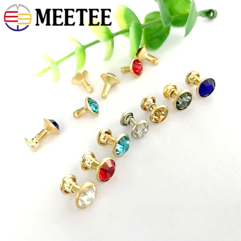 Home & Garden Meetee 50/100pcs 8mm Glass Crystal Rivet Button Bag Decorbuckles Diy Leather Craft Clothing Accessories Drill Nail Hook Bf052 Apparel Sewing & Fabric