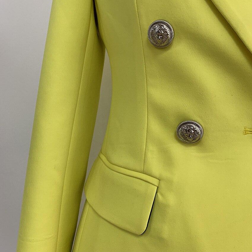 2019 Yellow Jacket Blazer Women Double Breasted Long Sleeve Slim Women's Blazer Jackets Spring Autumn Elegant Office Suit Coat