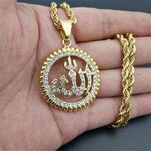 Collar religioso con colgante redondo de Dios, collar de acero inoxidable de Color dorado con brillantes, joyería islámica ostentosa