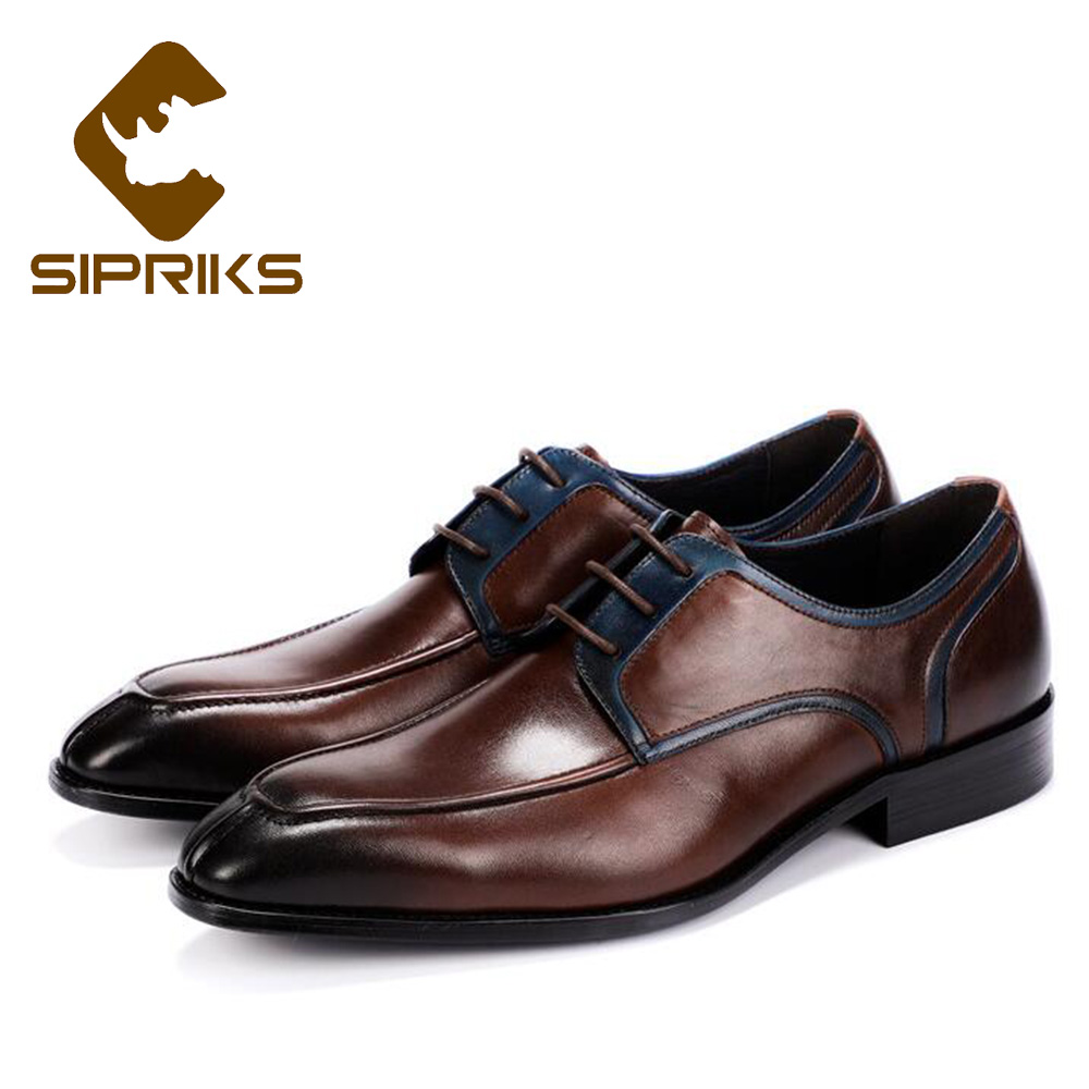 9045be102e03 Sipriks Real Cow Leather Dark Brown Oxfords Classic Boss Men S Split Toe  Dress Shoes British Style
