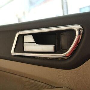 Foal Burning 4 Uds manija de puerta interior de acero inoxidable círculo Trim Chrome Sequins Cover Sticker para Ford Focus 2 Mk2 2009-2012