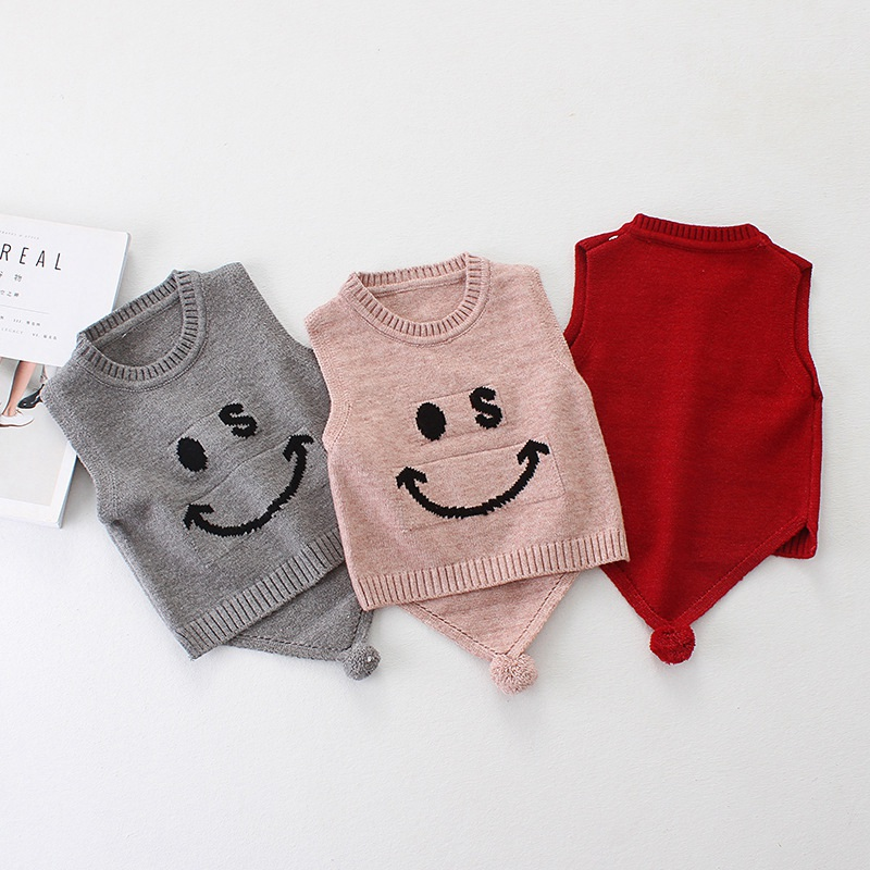 Autumn spring Casual boys Ggirls babys infant Knitting cartoon Smiling face sleeveless vest Pullovers sweater Y2583