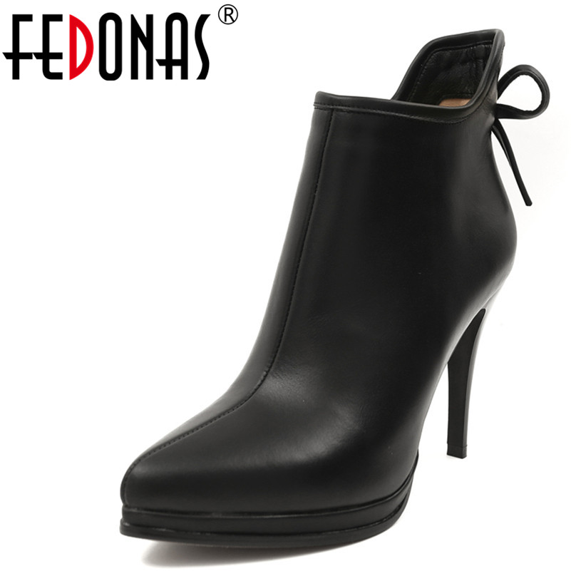 FEDONAS 1Fashion Women Ankle Boots Autumn Winter Warm Genuine Leather High Heels Shoes Butterfly Knot Party Dancing Shoes WomanFEDONAS 1Fashion Women Ankle Boots Autumn Winter Warm Genuine Leather High Heels Shoes Butterfly Knot Party Dancing Shoes Woman