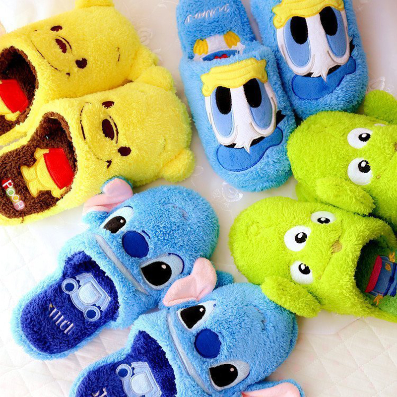 Stich Slippers Boys Fur Slippers Kids Winter Warm Shoes Girls Flip Flops Children Animal Cotton Home Shoes Baby Toddler Shoes