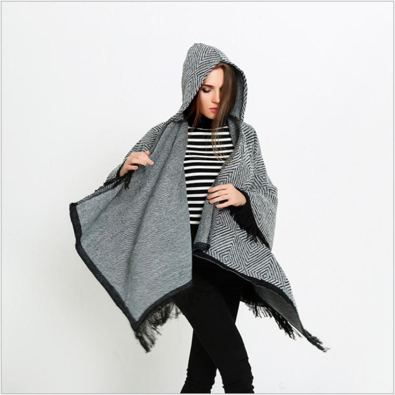 2016 new style special fashion woman big Poncho imitate cashmere cap shawls tassel Geometric Women Winter lady big shawls DP2563