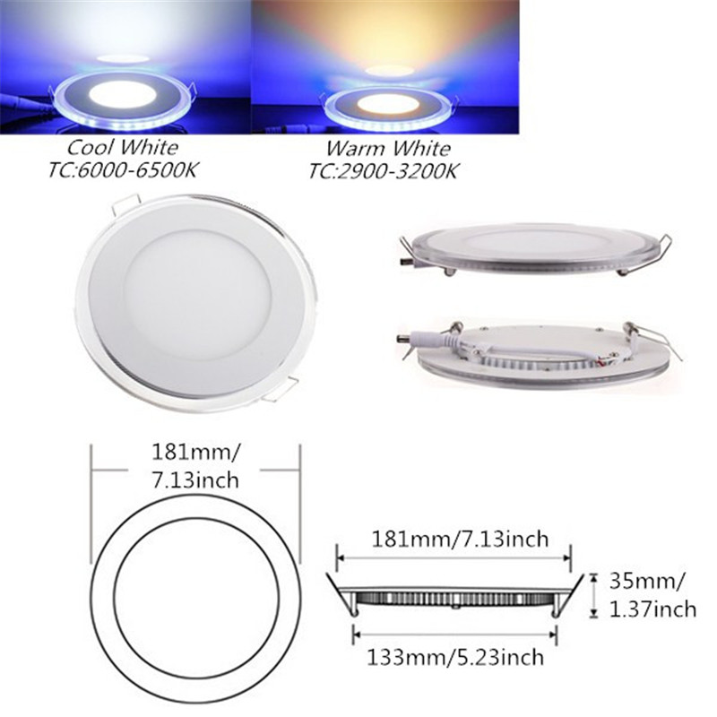 20w White + Blue Dual Color Led Downlight Indoor Lighting Round Led Panel Light Recessed Ceiling Led Ac110v 220v Dhl Free Ship Latest Technology