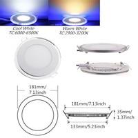 20W White + Blue Dual Color LED Downlight Indoor Lighting Round LED Panel Light Recessed Ceiling LED AC110V 220V DHL Free Ship
