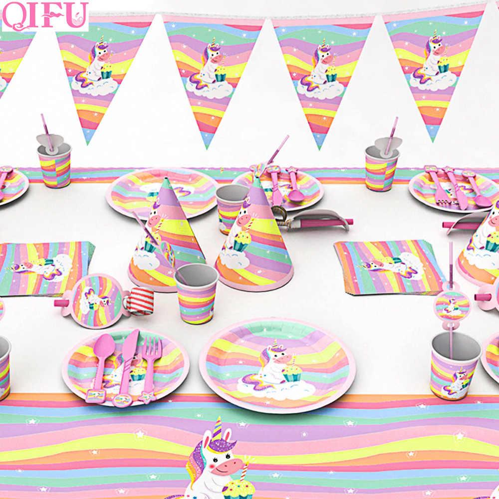 QIFU Fontes Do Partido Decorações De Aniversário Decoração Unicórnio Unicórnio Unicórnio Unicórnio Rosa Decorações Do Partido Do Chuveiro Do Bebê Da Menina do Menino