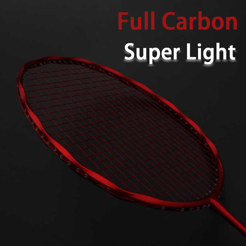 Professional Super Light Full Carbon Fiber Badminton Racket Strung Max 30LBS 4U Rackets With String Bag Racquet Sports Padel