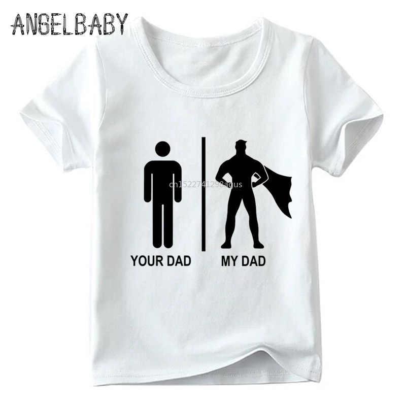 Jongens en Meisjes IK Hebben een Super Dad Print Grappige t-shirt Kids Zomer Witte Tops Kinderen Casual T-shirt, ooo741