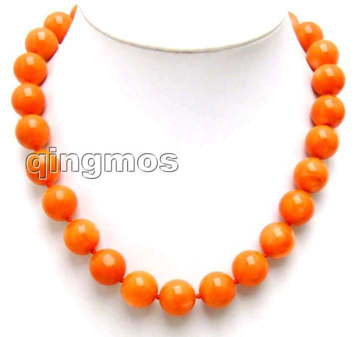 Big 14-15mm high quality 100% round Pink nature Coral Necklace With Lovely Shining Clasp -5214_5 Wholesale/retail Free shipping sale super long 34 huge 9 15mm graduate high quality round orange nature coral necklace nec5365 wholesale retail free ship