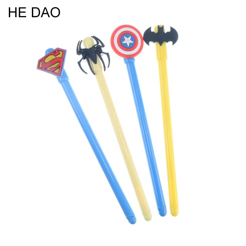 4pcs Cartoon Hero Series Gel Pens For Writing Cute Superman Captain America Spider-man Batman Gel Pen Set Office School Supplies