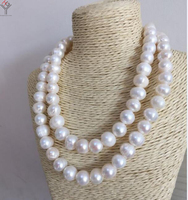 30'' 80cm Women Jewelry necklace 10x12mm white baroque pearl handmade real natural freshwater pearl gift