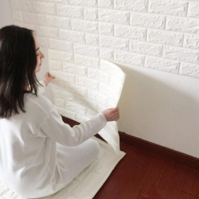 2017 60x60cm 3D Stone Brick PE Foam Wallpaper Posters Wall Stickers Wall Decor Living Room Kitchen Home Improvement