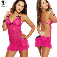 2016 Valentine S Day Sexy Lingerie Hot Expose Shoulder Rose Lace Sexy Babydoll Long Sleeve Erotic