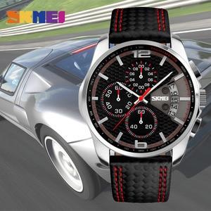 Image 3 - SKMEI hommes montre à Quartz montres de mode bracelet en cuir 3Bar étanche marque de luxe montres horloge Relogio Masculino 9106