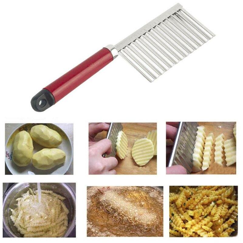 potato wavy edged knife stainless steel plastic handle kitchen gadget vegetable