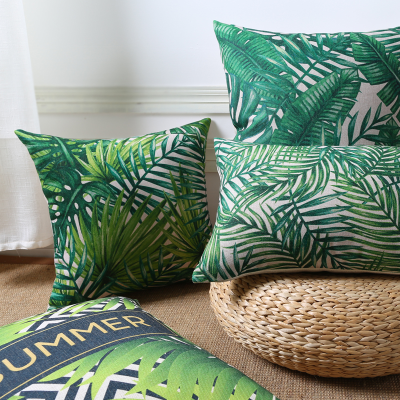 Hot tropical plants leaf cushion cover linen green palm for Cojines sofa exterior