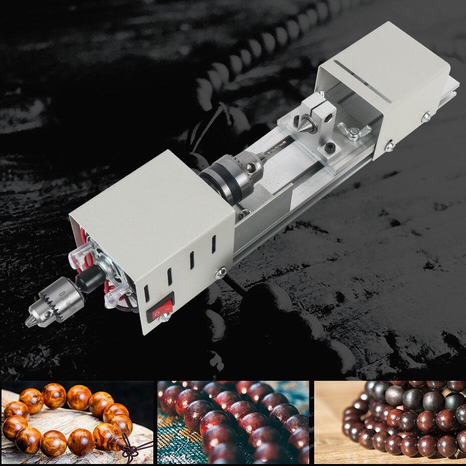 Mini tour à bois Machine bricolage travail du bois Miniature bouddha perle tour meulage polissage perles bois perceuse outil rotatif 12-24VDC - 6