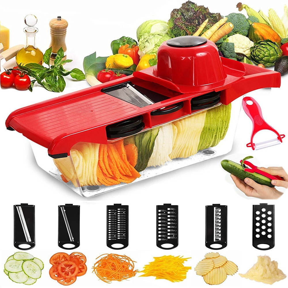 Vegetable Cutter Potato Slicer with Container 6 Interchangeable Blades with Hand Protector and Peeler Cutting Vegetable Grater adjustable mandoline slicer professional grater