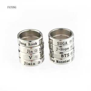 FATONG size ring letter punk stainless steel jewelry