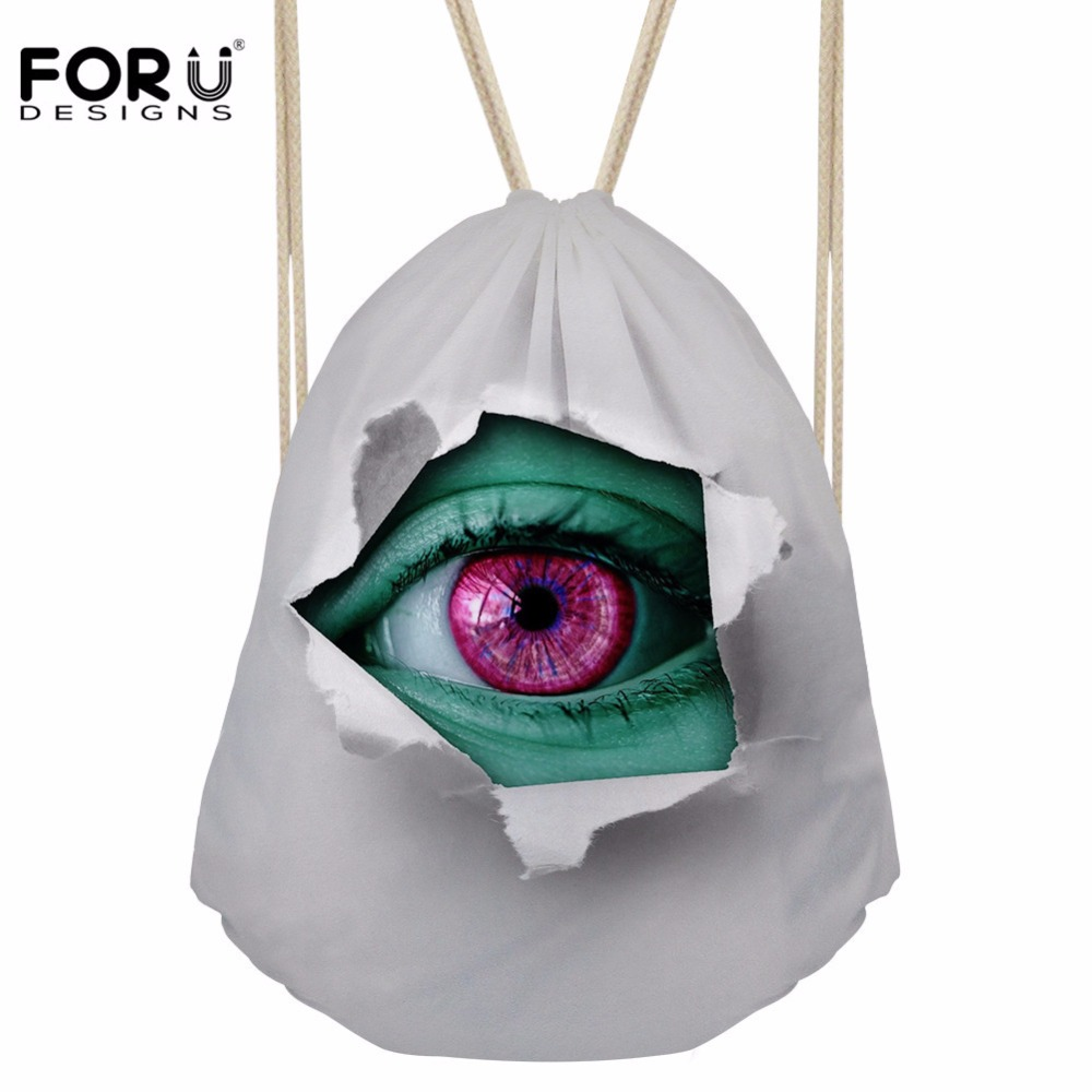 FORUDESIGNS Drawstring Bag Women's 3D Eye Printing Backpack Females Small Shopping Package For Girls Cool Softback Mochilas
