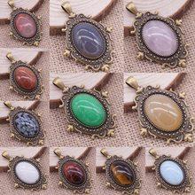 Wholsale Natural Stone Pendant Oval Shape Cabochon Stone/Opal/Tiger Eye Sone 47*30mm