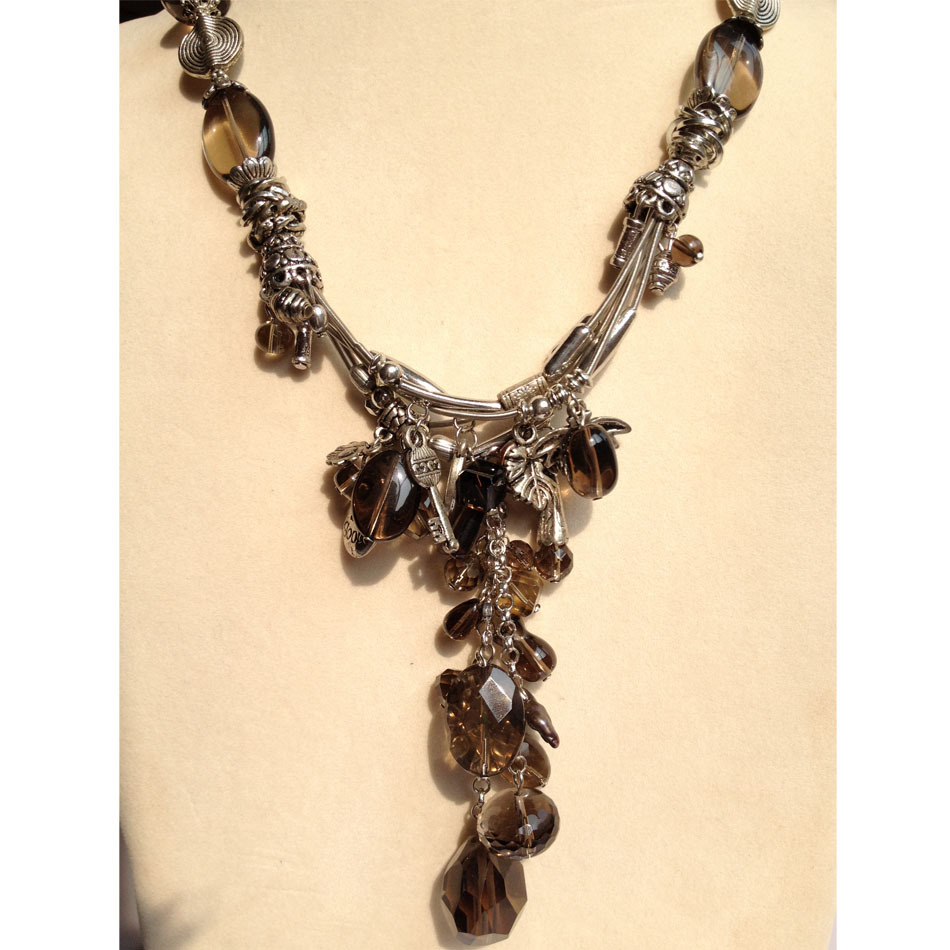 Fumage naturel Quartz Collier Pendentif Collier 50 CM Livraison Gratuite Romantique Vintage Collier