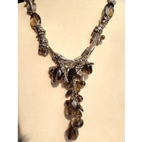 Natural Smoking Quartz Necklace Pendant Necklace 50CM Free Shipping Romantic Vintage Necklace