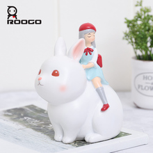 Roogo Home Garden Decoration Accessories Resin Room Ornaments Dream Girl House Decorative Figurines Cute Animal