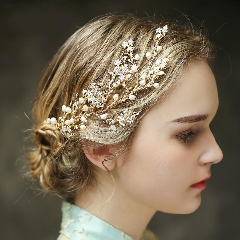 Jonnafe Gold Exquisite Flower Pearl Wedding Hair Vine