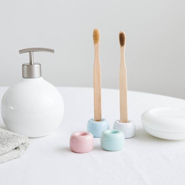 Ceramic Toothbrush Holder Porcelain Bath Tool Storage Rack Organizer ...