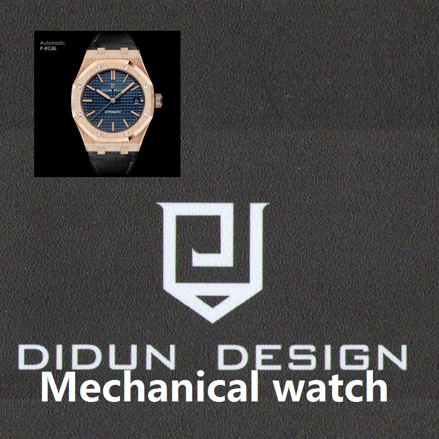 DIDUN Men Watches Top Brand Luxury Mechanical Automatic Watch Rosegold Male Fashion Business Watch Leather Strap Wristwatch didun mens automatic mechanical watches top brand luxury watches men steel army military watches male business wristwatch