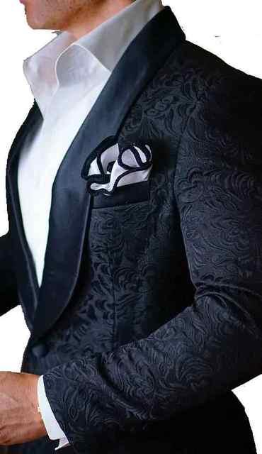 Black Patterns Men Suits Blazer 2017 Latest Design Mens Groom Tuxedos Groomsmen Wedding Party Wear Jacket Pants Bow
