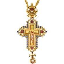 Религиозный металлический крестообразный шнек золотистого и серебристого цвета, ортодоксальный русский крест, ювелирный крест на груди жреца