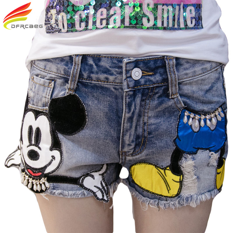 Preppy Style 2018 Summer New Arrival Cartoon Sequins Denim   Shorts   Women High Waist Jeans   Shorts   Plus Size   Short   Jeans Feminino