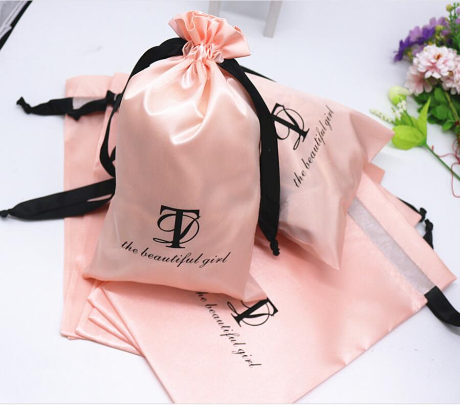 high quality human hair veave packaging bag small satin drawstring jewelry bag custom satin bag for
