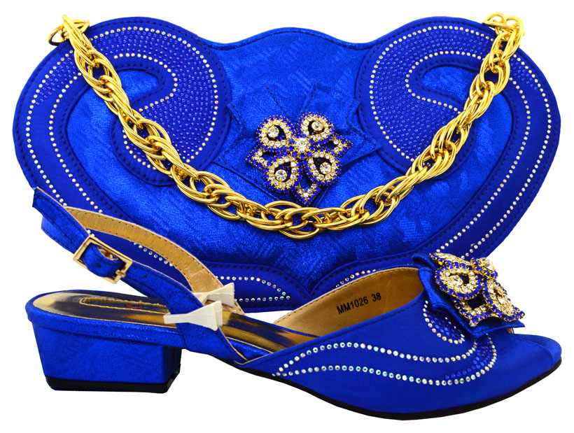 ФОТО Royal Blue Color African Shoes and Matching Bags Italian Design African Shoes and Bags Matching Set Women Shoe and Bag   HFC1-17